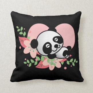 Panda baby sleeping so kawaii cute throw pillow