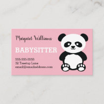 Panda Babysitting Childcare Pink Babysitter Animal Business Card