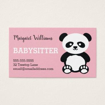 Panda Babysitting Childcare Pink Babysitter Animal Business Card