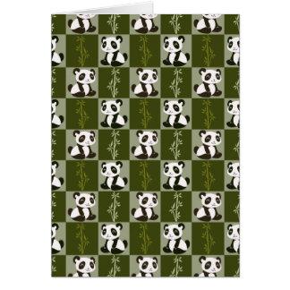Panda Bamboo Shoot Checkered Pattern Card