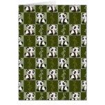 Panda Bamboo Shoot Checkered Pattern Greeting Card