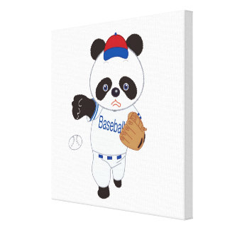 Panda Baseball Player Pitching a Baseball Canvas Print