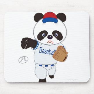 Panda Baseball Player Pitching a Baseball Mouse Pad