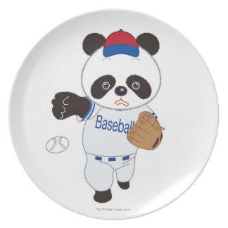 Panda Baseball Player Pitching a Baseball Plate