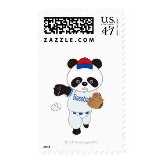 Panda Baseball Player Pitching a Baseball Postage