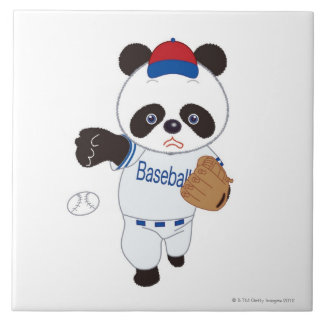 Panda Baseball Player Pitching a Baseball Large Square Tile