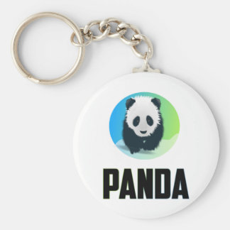 Panda Basic Round Button Keychain
