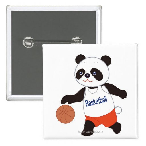 Panda Basketball Player Dribbling 2 Inch Square Button