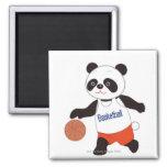 Panda Basketball Player Dribbling 2 Inch Square Magnet