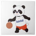 Panda Basketball Player Dribbling Large Square Tile