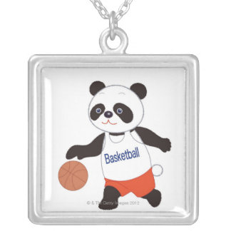 Panda Basketball Player Dribbling Square Pendant Necklace