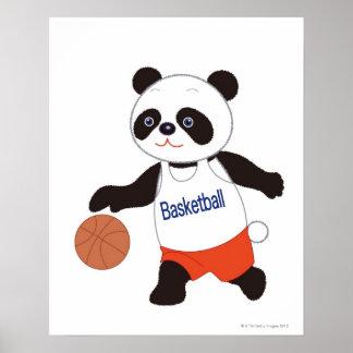 Panda Basketball Player Dribbling Poster