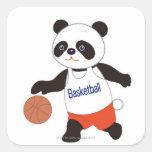 Panda Basketball Player Dribbling Square Sticker