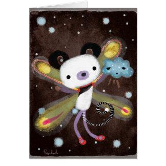 Panda Bear and cute cloud friend card dark grungy