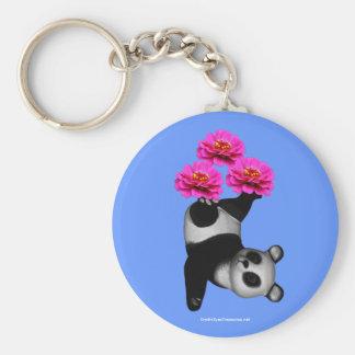 Panda Bear And Pink Zinnias Flower Keychain