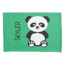 Panda Bear Animal Kawaii Kids Personalized Green Pillowcase