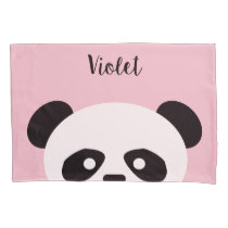 Panda Bear Animal Kawaii Kids Personalized Pink Pillowcase