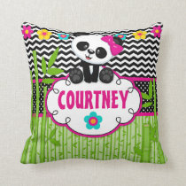 Panda Bear Animal Monogram Throw Pillow