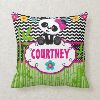 Panda Bear Animal Monogram Throw Pillow