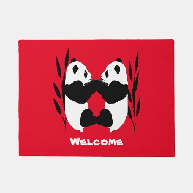 Panda Bear Animals Red Welcome Doormat