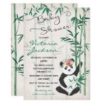 Panda Bear Bamboo Baby Shower Invitation