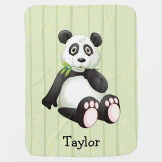 Panda Bear Bamboo Bkgr Black & White Monogram Receiving Blanket