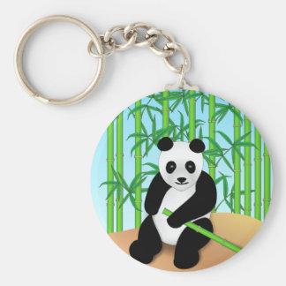 Panda Bear & Bamboo Plants Basic Round Button Keychain