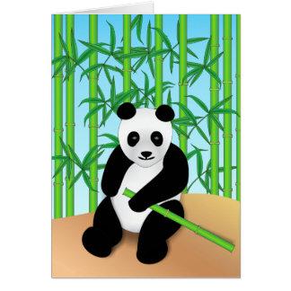 Panda Bear & Bamboo Plants Card