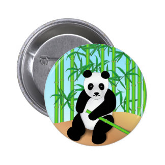 Panda Bear & Bamboo Plants Pinback Buttons