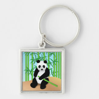 Panda Bear & Bamboo Plants Silver-Colored Square Keychain