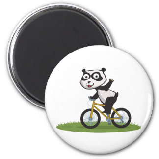 Panda Bear Biker 2 Inch Round Magnet
