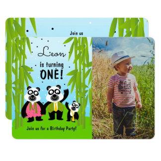 Panda bear birthday party photo invitation