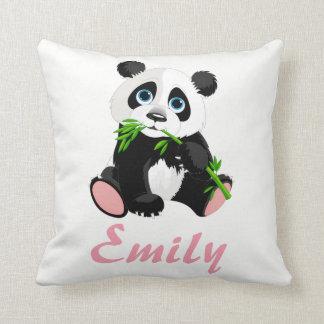 Panda Bear Black and White Green Bamboo Name Throw Pillow