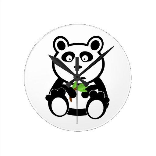 Panda Bear Black White Destiny Gifts Round Wall Clock