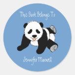 Panda Bear Bookplate Classic Round Sticker