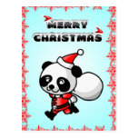 Panda Bear Cartoon Merry Christmas Postcard