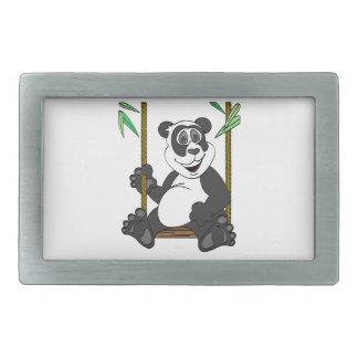 Panda Bear Cartoon Swing Rectangular Belt Buckle
