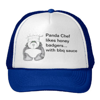 Panda Bear Chef Likes Honey Badgers Mesh Hats