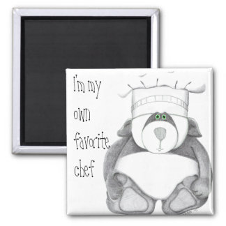 Panda Bear Chef Picture 2 Inch Square Magnet