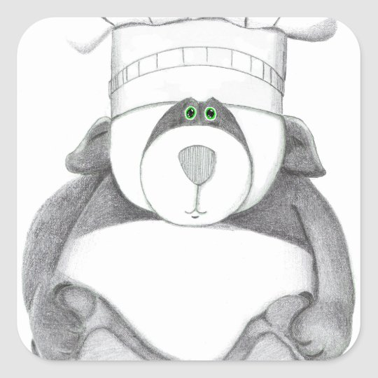Panda Bear Chef Picture Square Sticker
