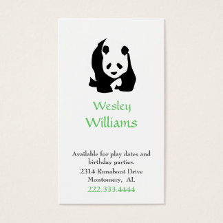 Panda Bear Children Play Date Card