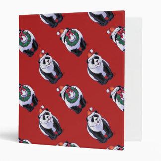 Panda Bear Christmas On Red Binder