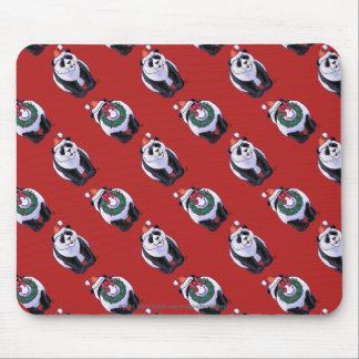 Panda Bear Christmas On Red Mouse Pad