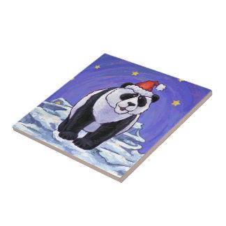 Panda Bear Christmas Tile