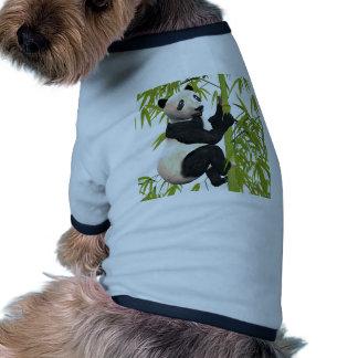 Panda Bear Climbing A Bamboo Tree Dog T Shirt