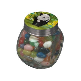 Panda Bear Cub Glass Candy Jar