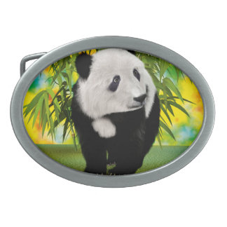 Panda Bear Cub Oval Belt Buckle