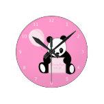 Panda Bear custom girls name & birth date Round Clock