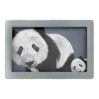 panda bear cute cuddly animal black white sweet rectangular belt buckle