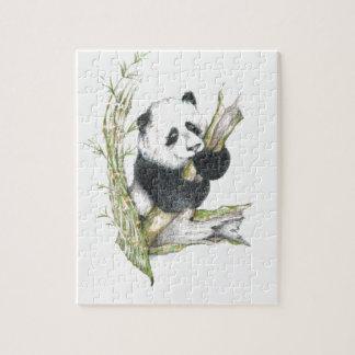 Panda Bear cute pencil drawing bamboo Jigsaw Puzzle